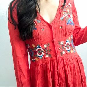 ASOS Red Floral Embroidered A-Line Mini Dress